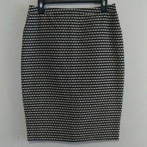 Merona Black Striped Print Skirt